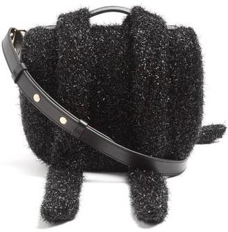 Simone Rocha Lurex And Leather Cross Body Bag - Womens - Black