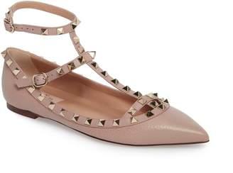 Valentino Rockstud Ankle Strap Pointy Toe Flat