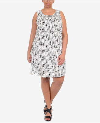 NY Collection Plus Size Dot-Print Necklace Shift Dress