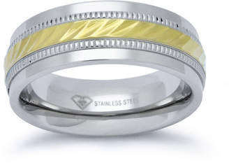 JCPenney MODERN BRIDE Personalized Mens 8mm Two-Tone Stainless Steel Wedding Band