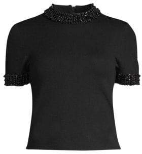Alice + Olivia Ciara Embellished Short-Sleeve Crop Sweater