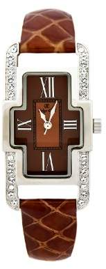 Marbella Oskar Emil Ladies Brown Quartz Watch with Crystals Brown Dial Analogue Display and Brown Leather Strap brown
