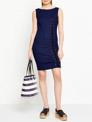 GUESS Tia Denim Dress With Lace Tie Up Detail - Navy