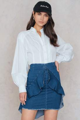 boohoo Frill Front Denim Skirt