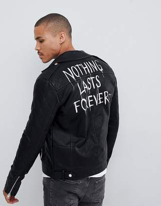 Solid faux leather biker jacket with back print