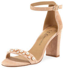 Bamey Pearly-Studded Suede Block-Heel Ankle-Wrap Sandal