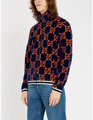 Gucci Logo-intarsia velour jacket