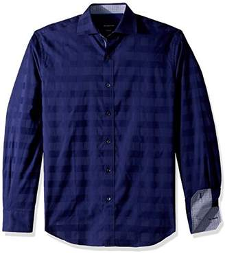 Bugatchi Men's Cotton Tapered Fit Long Sleeve Spread Collar
