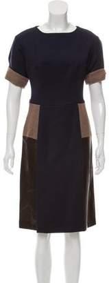 Fendi Leather-Trimmed Midi Dress