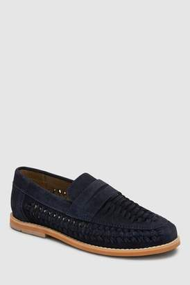 Next Boys Navy Suede Woven Loafers (Older)