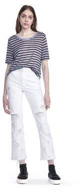 Alexander Wang Cropped Stripe Linen Short Sleeve Tee