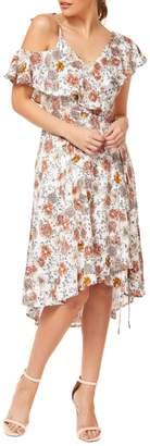Dex Floral Cold-Shoulder Fit--Flare Dress