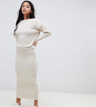 Asos DESIGN petite two-piece midi skirt in wide rib