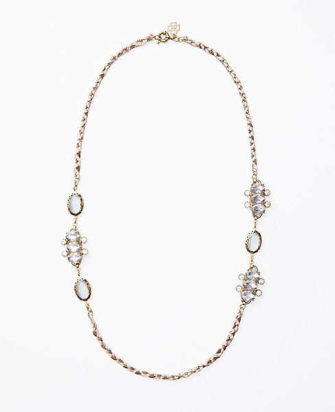 Ann Taylor Crystal Braided Long Ribbon Necklace