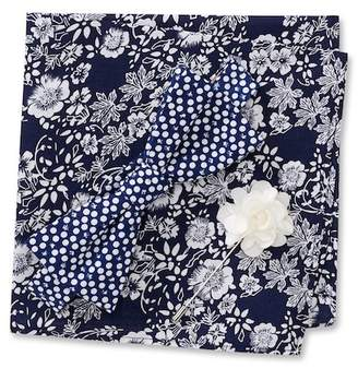 Original Penguin Shlomo Dot Pre-Tied Bow Tie, Floral Pocket Square, & Dot Lapel Pin Box Set
