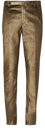 Saint Laurent Slim-Fit Metallic Cotton Trousers