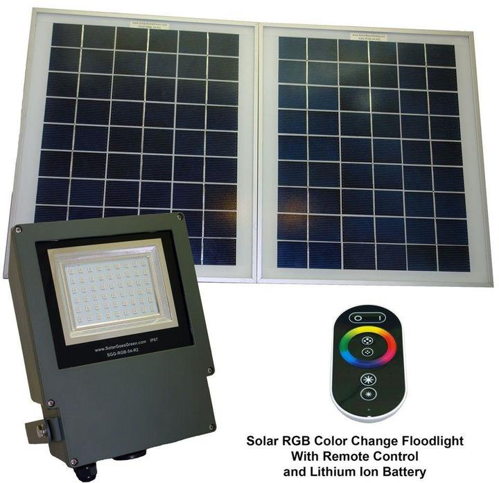 Solar Goes Green Solar Grey Color LED Changing Outdoor Flood Light with Remote Control