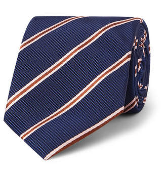 Drakes Kingsman - Drake's 8.5cm Striped Silk and Cotton-Blend Faille Tie - Blue