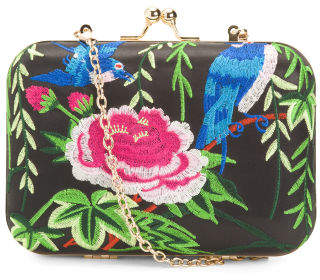 Tango Satin Box Clutch With Embroidery And Shoulder Strap
