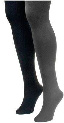 Muk Luks Women's Fleece-Lined Tights 2-Pair Pac k