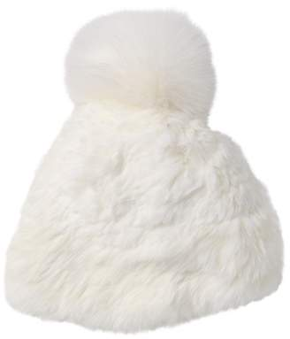 Surell Sheared Genuine Rabbit Fur Beanie with Genuine Fox For Pompom