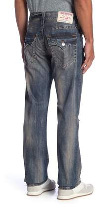 True Religion Straight Flap Red Orange Denim Jeans