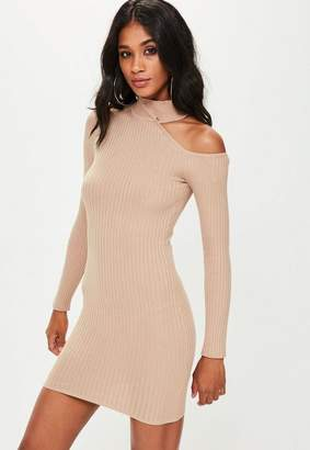 Missguided Camel Cut Away Detail Knit Bodycon Dress