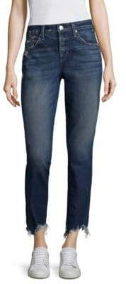 Amo Lover Slightly Distressed Raw-Hem Jeans