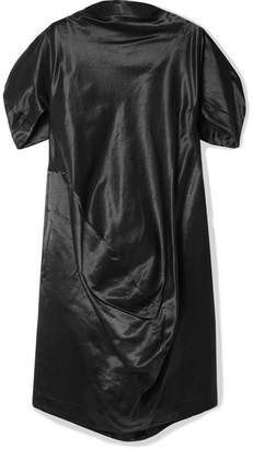 Comme des Garcons Oversized Draped Cotton-blend Satin Dress - Black