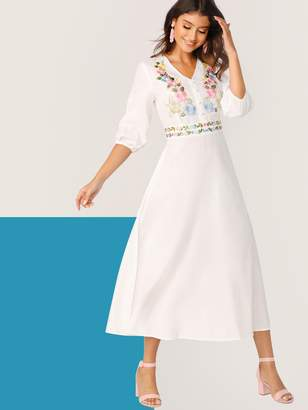 Shein Botanical Embroidered Button Front Lantern Sleeve Hijab Dress