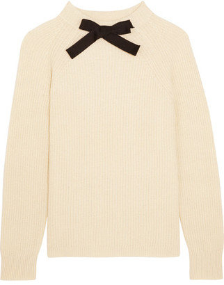 J.Crew - Gayle Grosgrain-trimmed Knitted Sweater - Cream $80 thestylecure.com