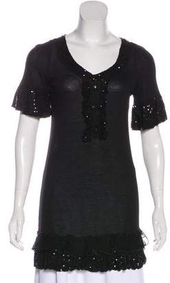 Christian Dior Sequin Embellished Short Sleeve Tunic