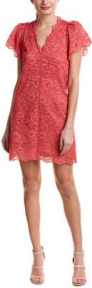 Rebecca Taylor Lace Silk-Trim Shift Dress
