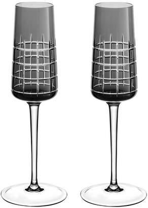 Christofle Graphik Champagne Flutes - Set of 2 - Grey