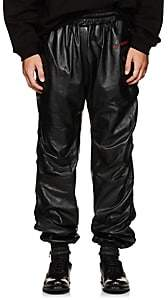 WILLY CHAVARRIA Men's Ruched Leather Track Pants - Black