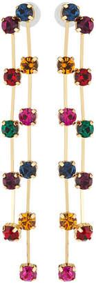 Kenneth Jay Lane Double Drop Earrings w/ Dark Crystals