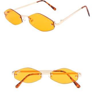 Lush NEM Retro 55mm Rimless Geometric Sunglasses