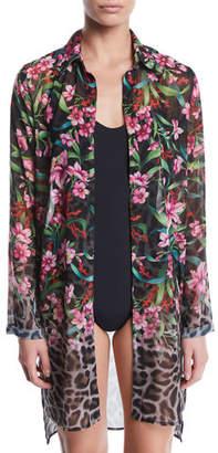 Carmen Marc Valvo Ombre Floral/Leopard Sheer Button-Down Coverup Shirt