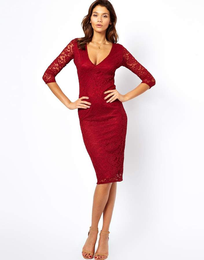 Asos Midi V Neck Lace Bodycon Dress