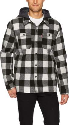 Levi's Men's Wool Blend Plaid Shirt Jacket, White/Black