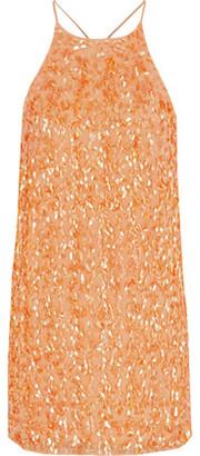 Halston Sequined Silk Mini Slip Dress
