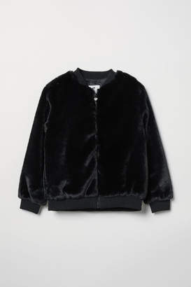 H&M Faux Fur Bomber Jacket - Black