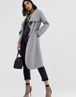 PrettyLittleThing oversized waterfall belted coat in gray
