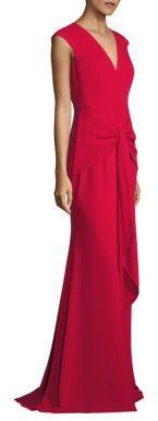 Carmen Marc Valvo Draped Crepe Gown $990 thestylecure.com