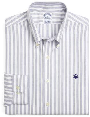 Brooks Brothers Supima Cotton Non-Iron Slim Fit BrooksCool Quad Stripe Oxford Sport Shirt
