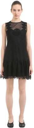 Moncler Sheer Silk & Cotton Lace Mini Dress