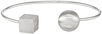 Sterling Bead & Square Satin Cuff, 6.5g by Silver Style