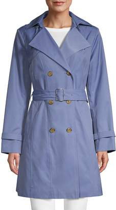 Cole Haan Double Breasted Hood Trench Coat