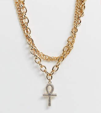Liars & Lovers gold chunky multi layer necklace with cross detail