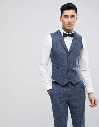 Asos DESIGN Slim Suit Vest in 100% Wool Harris Tweed In Blue Mini Check